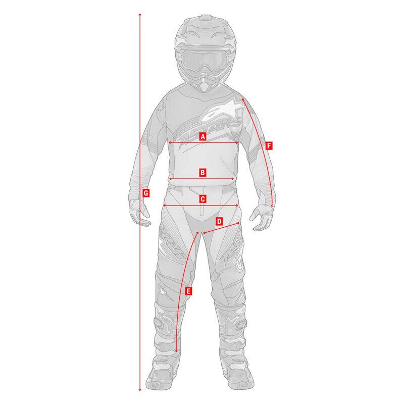 Gyerek Off Road motoros ruházat, MX mez és nadrág mérési segédlet